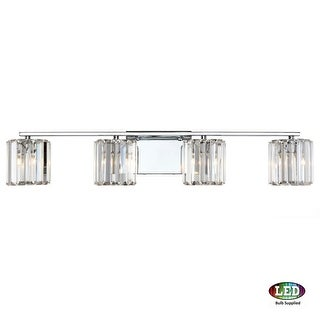 "Platinum PCDV8604LED Divine 4 Light 32"" Wide Bathroom Vanity Light with Crystal Cylinder Shades"
