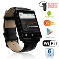 Indigi® Sleek Android 5.1 3G Unlocked AT&T TMobile SmartWatch Phone + WiFi + GPS + Heart Rate + Bluetooth Headset