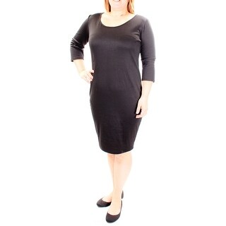 $102 PLANET GOLD New Womens 1200 Black 3/4 Sleeve Shift Dress Juniors L B+B