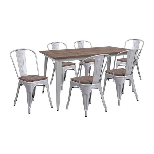 """Offex 30.25"""" x 60"""" Silver Metal Table Set with Wood Top and 6 Stack Chairs"""