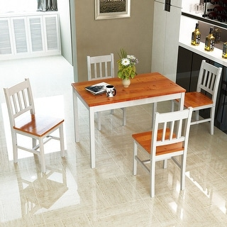 Costway 5PCS Pine Wood Dinette Dining Set Table and 4 Chairs Home Kitchen Furniture