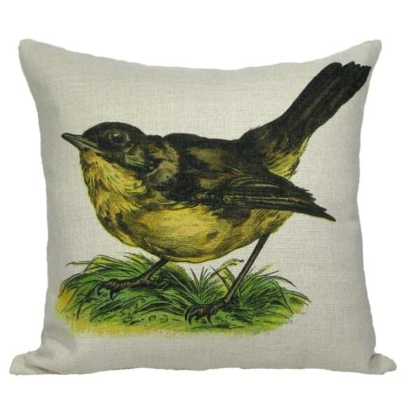 "Vintage Springtime Wren Bird Antique Style Decorative Accent Throw Pillow Cover 18"""