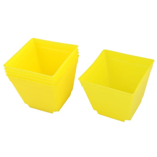 Restaurant Plastic Square Flower Succulents Pot Holder Yellow 4 x 4 Inch 5 Pcs
