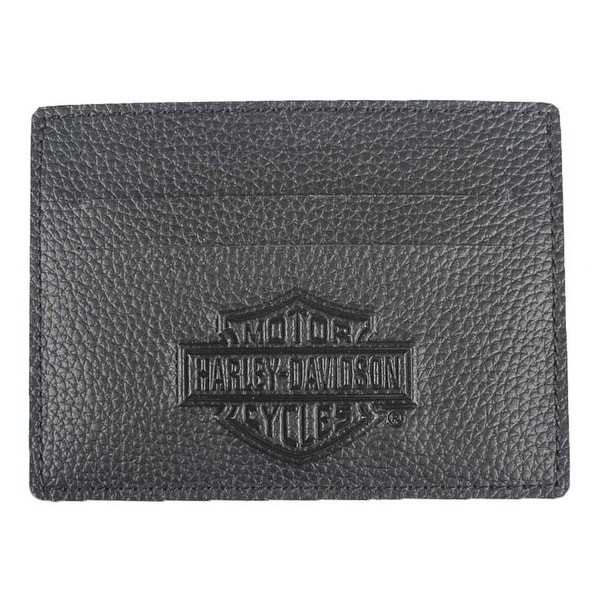 "Harley-Davidson Men's B&S Embossed Front Pocket Leather Wallet XML3590-BLACK - 4.25"" x 3"""