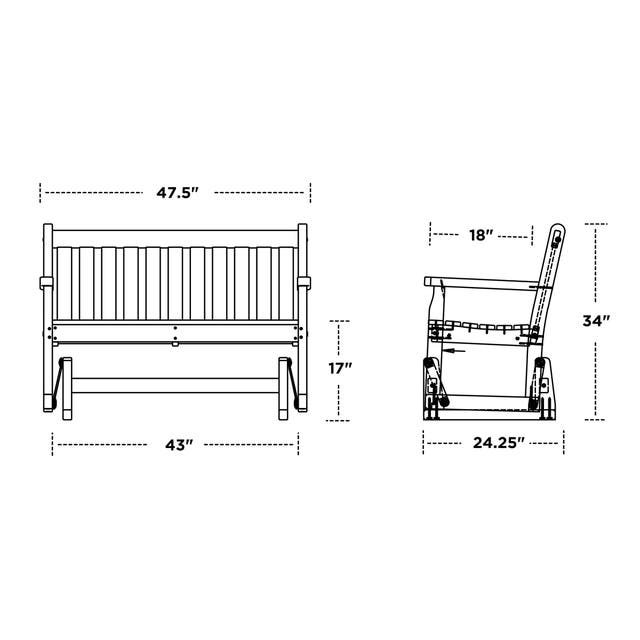 POLYWOOD Traditional 48-inch Outdoor Garden Glider Bench