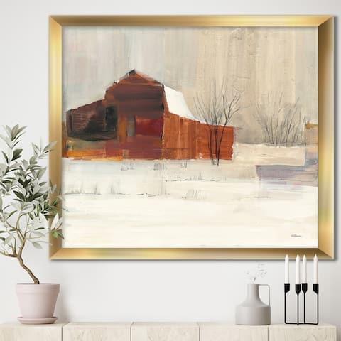 Designart 'Winter in the Barns' Farmhouse Framed Art Print