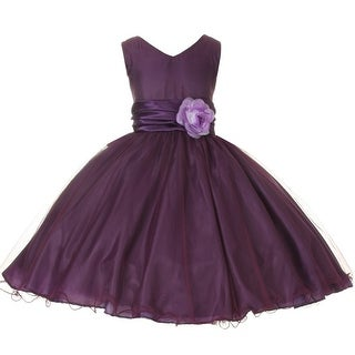Girls Purple Glittered Poly Mesh V-Neck Flower Girl Easter Dress 8-12