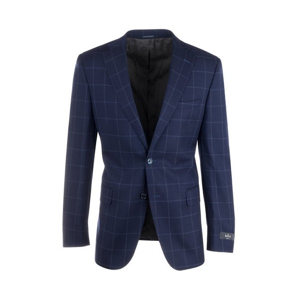 Dolcetto Blue with Lighter Blue Windowpane Modern Fit, Pure Wool Jacket by Canaletto Menswear 66003/2