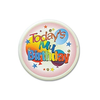 """Pack of 6 """"Today's My Birthday"""" Flashing Costume Celebration Buttons 2.5"""""""