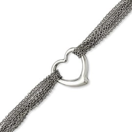 Stainless Steel Multirow Chain with Heart 7.5in Toggle Bracelet