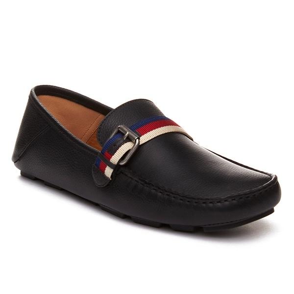 Gucci Men's Leather Sylvie Web Buckle Driver Shoes Black