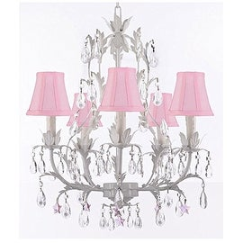 White Wrought Iron Floral Chandelier Lighting with Pink Stars and Shades!