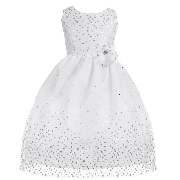 55eff9e3fa0 Shop Little Girls White Polka Dot Mesh Flower Girl Dress 2T-6 - Free  Shipping Today - Overstock - 18167777