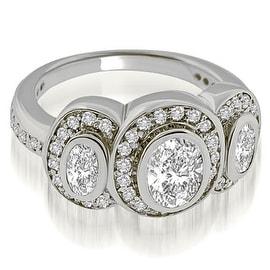 1.75 cttw. 14K White Gold Halo Bezel Three Stone Oval Diamond Engagement Ring