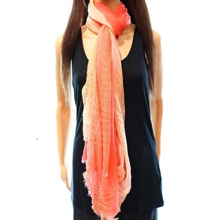 INC NEW Coral Orange One Size Knit Sparkle Ombre Print Raw-Hem Scarf