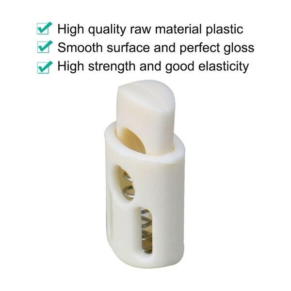 6pcs Round Cord Stopper Spring Lock End Toggle Fastener White Plastic