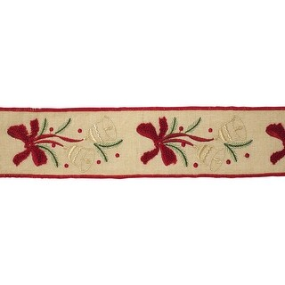 "Pack of 4 Brown and Red Wired Decorative Ribbon 4"" x 5 Yards"