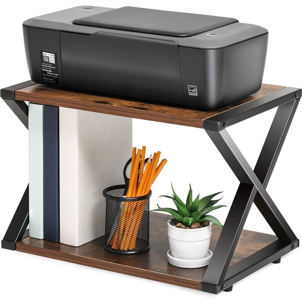 FITUEYES Printer Stand 2 Tiers Wood Desk Organizer Shelf. Opens flyout.