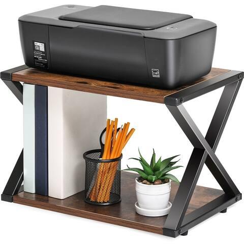 FITUEYES Printer Stand 2 Tiers Wood Desk Organizer Shelf
