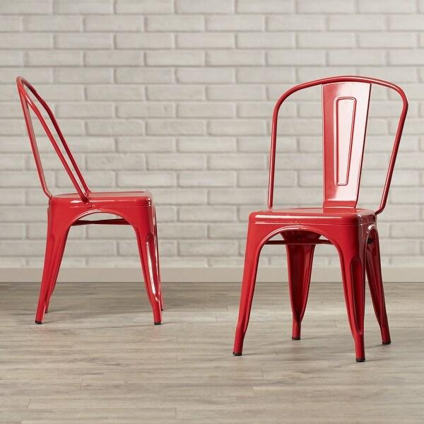 BELLEZE Set Of (4PC) Industrial Restaurant Cafe High Backrest Vintage Style  Dining Chair Stackable