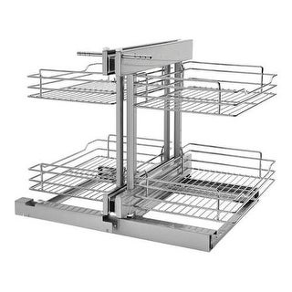 "Rev-A-Shelf 5PSP-15 5PSP 26.5"" Wide by 20.5"" Deep Two Tier Pull Out Blind Corner Base Cabinet Wire Basket Organizer - N/A"