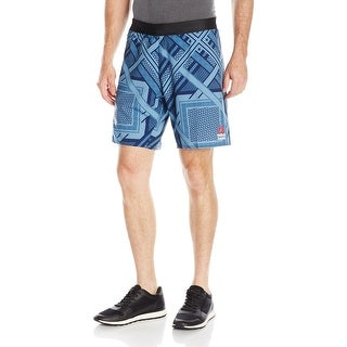 Reebok NEW Blue Mens Size Large L Printed  Cross-Fit Athletic Shorts