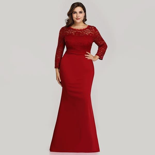 Shop Ever-Pretty Womens Plus Size Mermaid Long Sleeve Formal ...