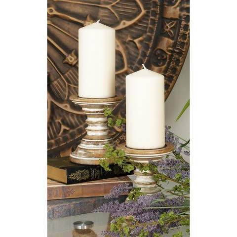 Brown Mango Wood Traditional Candle Holder (Set of 2) - 5 x 5 x 6