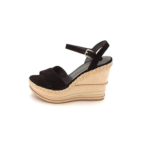 Stuart Weitzman Womens Sundry Wedge Sandals Suede Open Toe