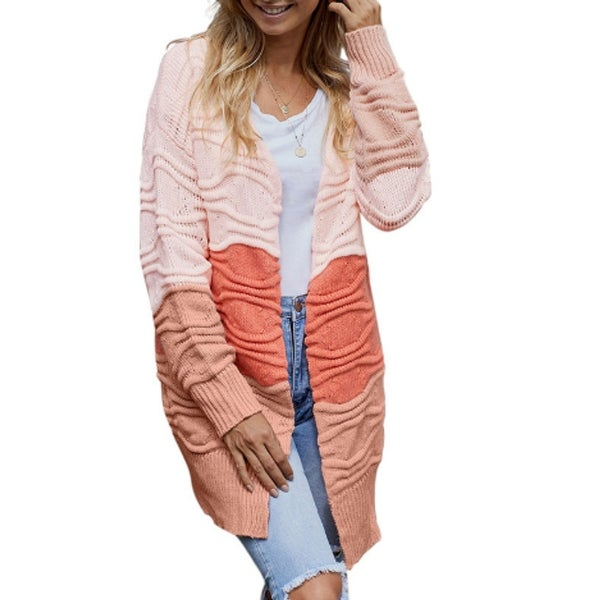 Womens Sweaters Open Front Cardigan Colorblock Long Sleeve Loose Knit Sweaters. Opens flyout.