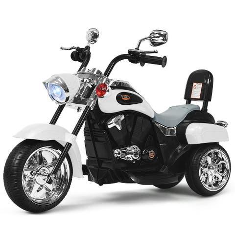 6V 3 Wheel Kids Motorcycle-White - White