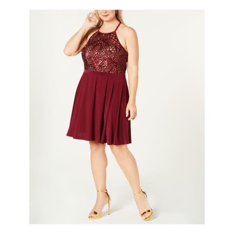 MORGAN & CO Burgundy Sleeveless Knee Length Sheath Dress Size 16W