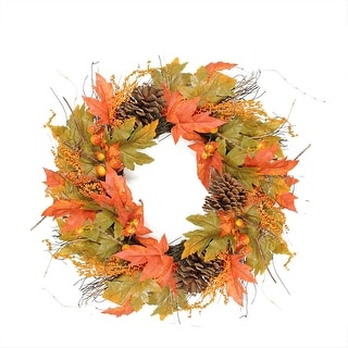 "24"" Autumn Harvest Decorative Artificial Berries, Leaves, Pine Cones and Twigs Wreath - Unlit"