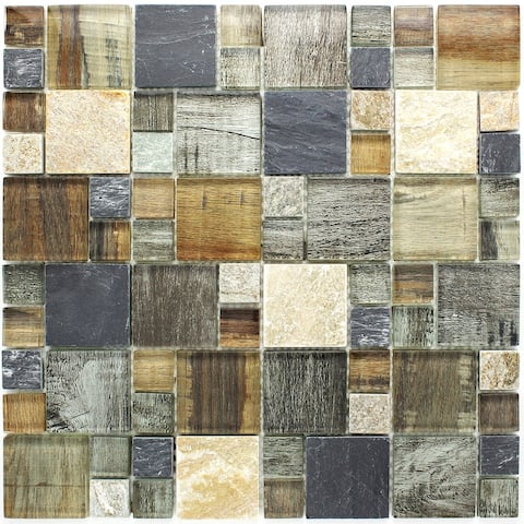 TileGen. Random Sized Glass and Stone Wood Look Tile in Beige/Grey Wall Tile (10 sheets/9.6sqft.)