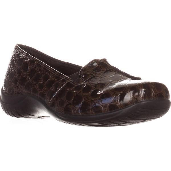 Easy Street Purpose Slip-On Flats, Brown Patent Croc - 7.5 us