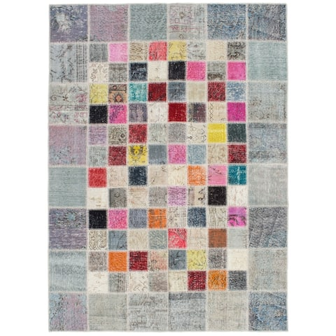 ECARPETGALLERY Hand-knotted Color Transition Patchwork Grey Wool Rug - 5'8 x 7'9