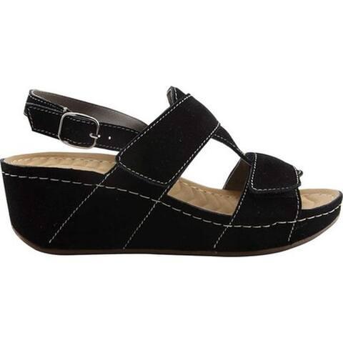 David Tate Women's Reba Wedge Sandal Black Suede