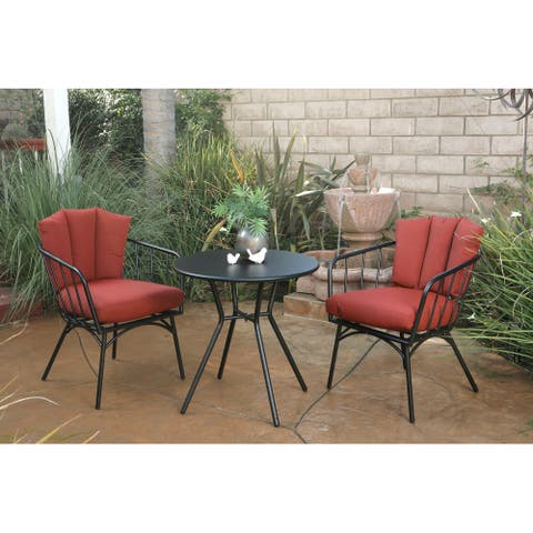 Rimini 3pc Bistro Conversation Set with Shell-back Cushions