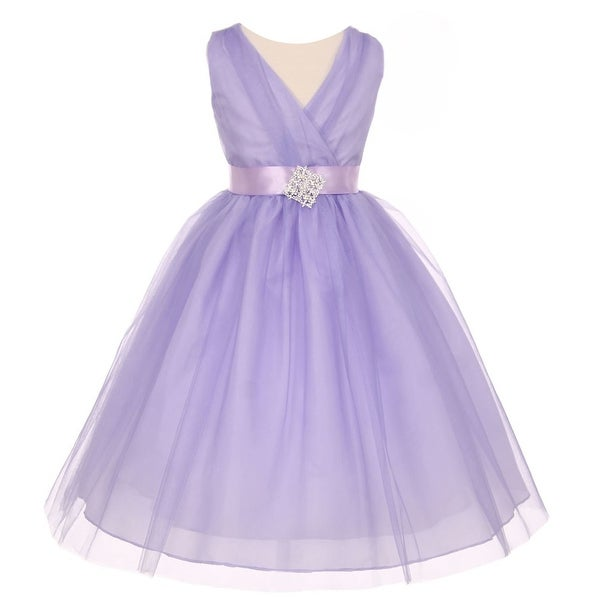 9c14818ba Shop Girls Lilac Pleated Rhinestone Brooch Tulle Junior Bridesmaid Dress 8- 14 - Free Shipping Today - Overstock - 18172197