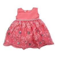 Little Girls Coral Glitter Sequin Embroidered Flower Girl Dress
