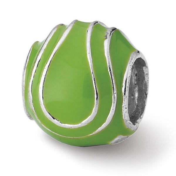 Sterling Silver Reflections Enameled Tennis Ball Bead (4mm Diameter Hole)