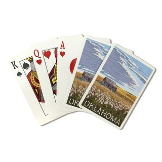 Oklahoma - Wheat Field and Shack - LP Artwork (Poker Playing Cards Deck)