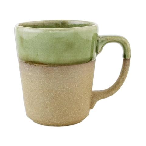 Handmade Green Patina Ceramic Mug (Thailand)