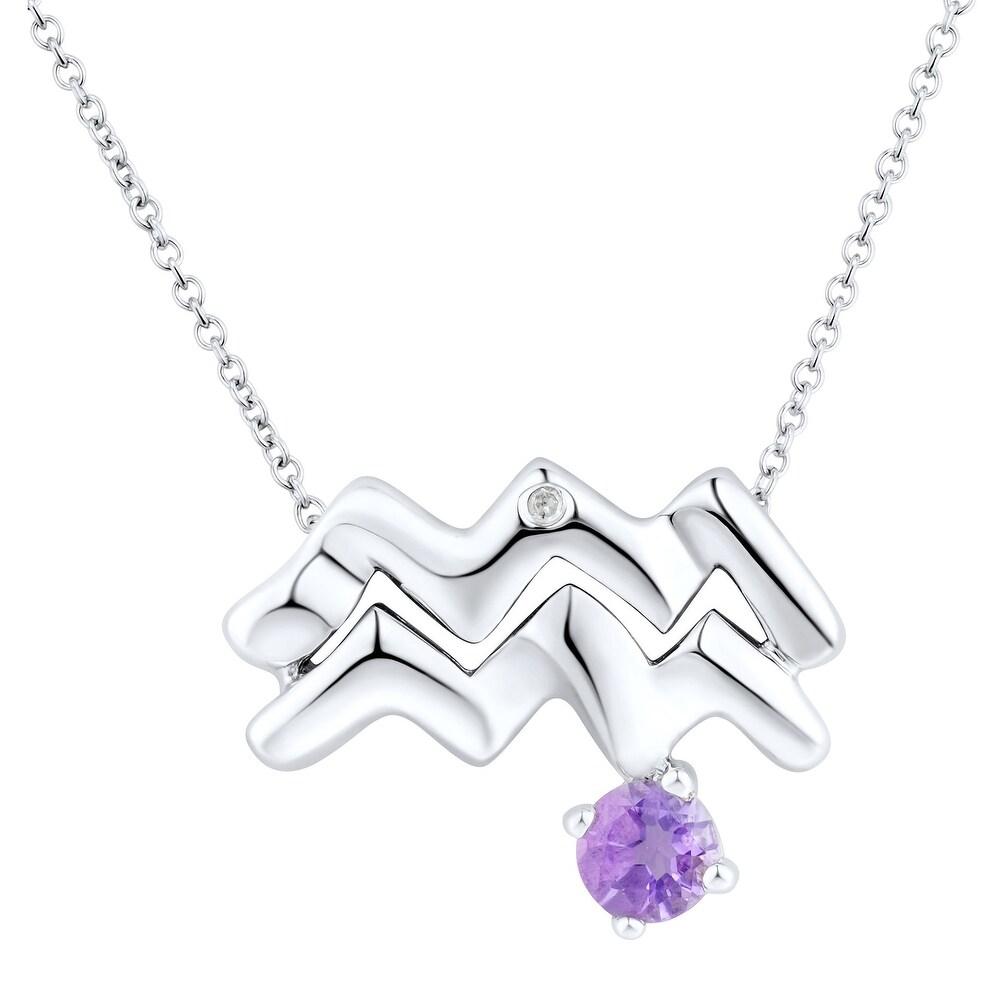 """18/"""" Natural Citrine Scorpio Pendant with Diamond in Sterling Silver"""