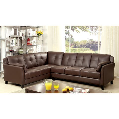 Furniture of America Sier Contemporary Faux Leather Padded Sectional