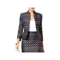 Kasper Womens Petites Jacket Tweed Geometric
