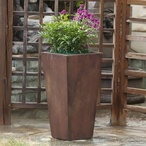 Tall Rustic Brown Angled Planter
