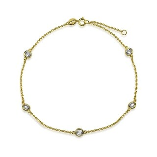 Bling Jewelry CZ by the Inch Gold Plated 925 Silver CZ Anklet 9in