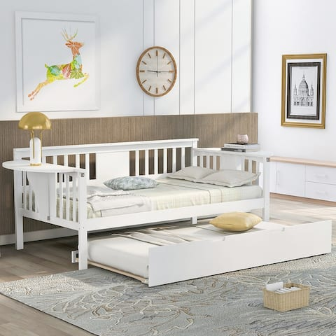Merax Wooden Daybed with Twin Trundle Bed