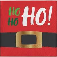 """Club Pack of 192 Santa's Belt Ho Ho Ho Beverage Napkins 5"""" - Black"""